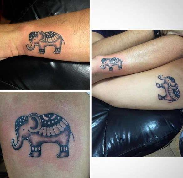 Парная татуировка слоника