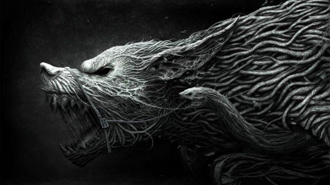 Чёрно-белый эскиз волка
