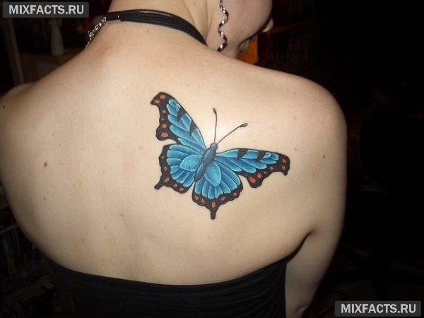 бабочка на спине тату