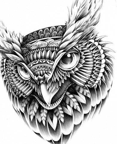 Татуировка совы у парней