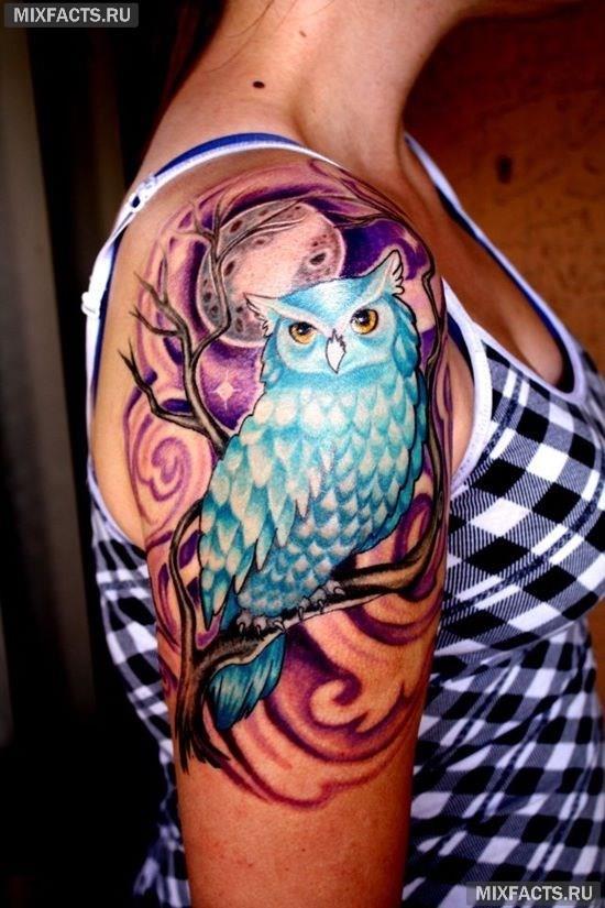татуировка голубая сова
