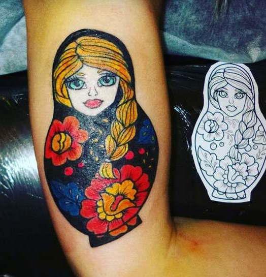 Славянская татуировка матрешка
