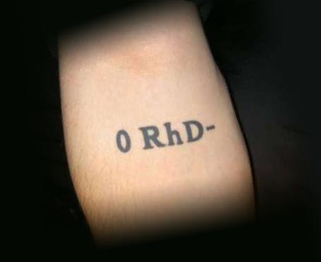 Типичная татуировка группы крови