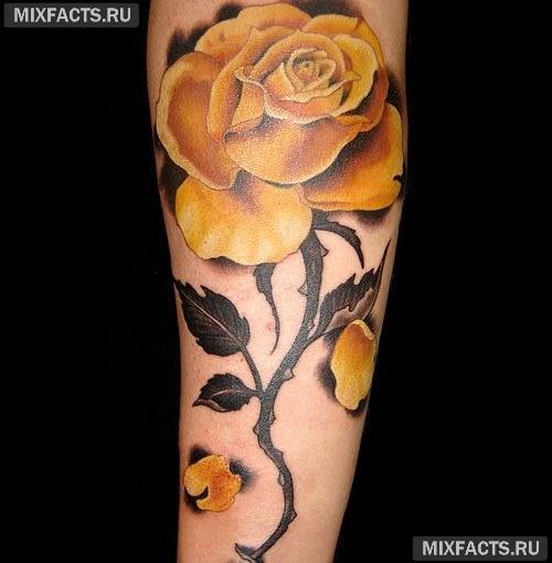 татуировка роза на ноге