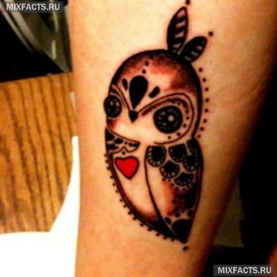 татуировка сова для девушек