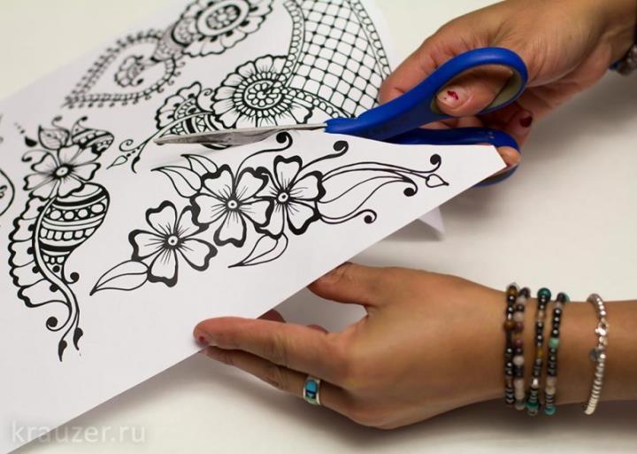 Кто впервые наносит рисунок хной можно использовать орнамент с бумаги