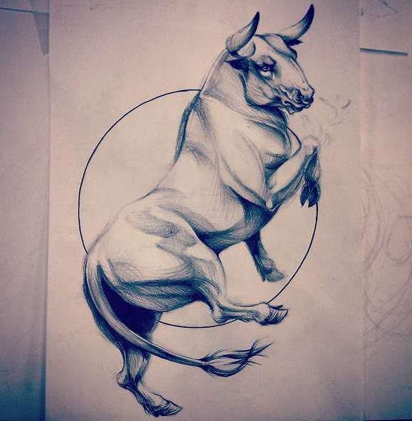 Эскиз татуировки бык