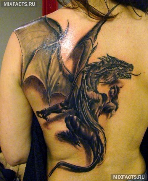 тату дракон на спине