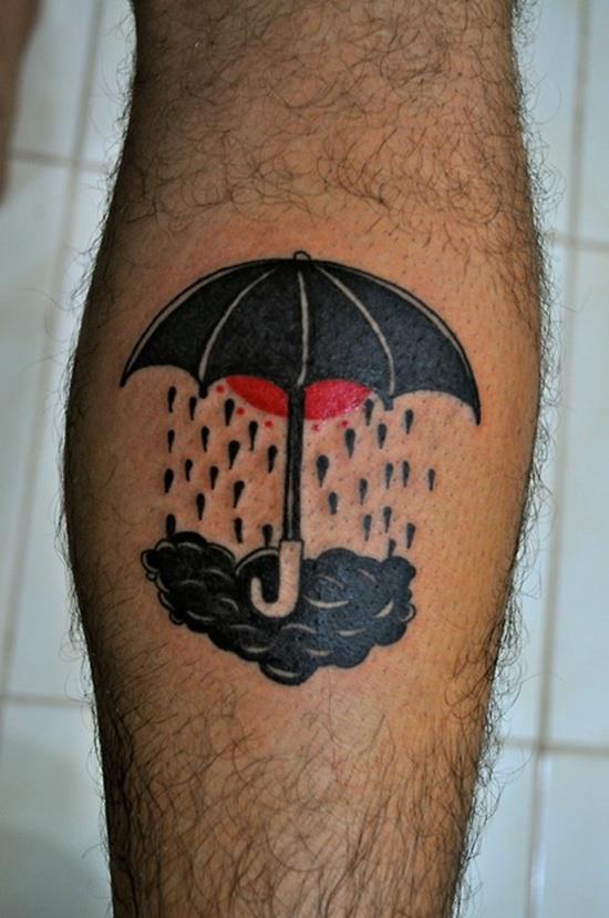 зонтик с нахмуренной тучей тату