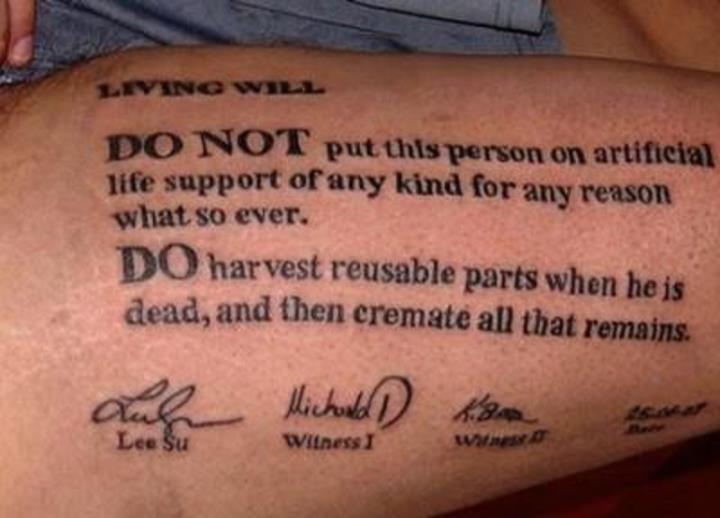 Вот почему врачи наносят себе татуировки «Не реанимировать».