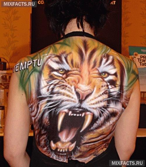 тигр тату на всю спину