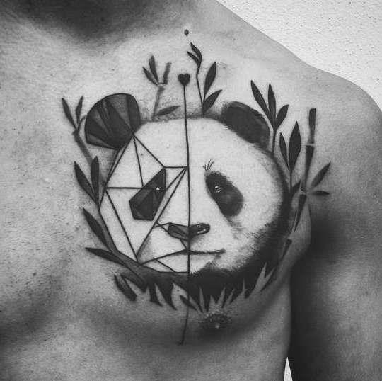 Медведь панда на груди
