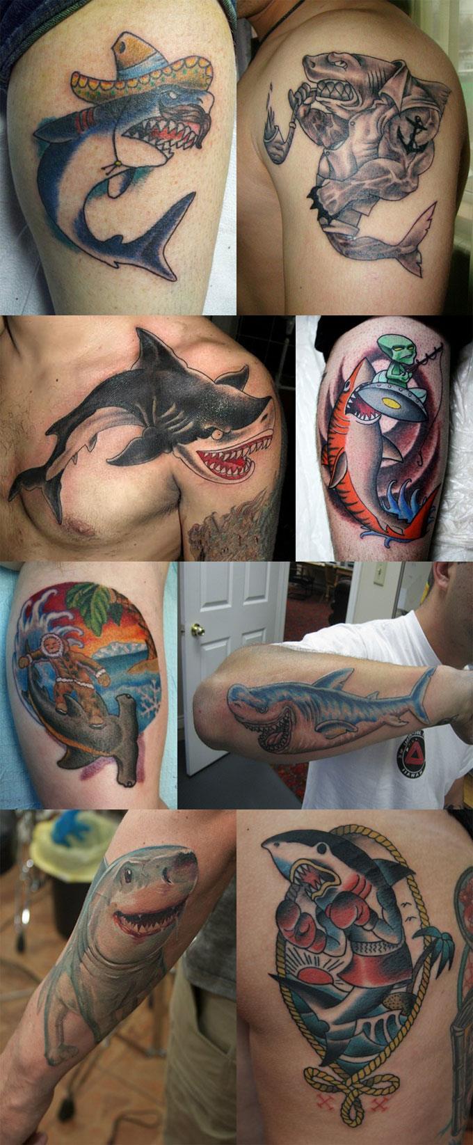 Татуировки акулы - прикольная, смешная, мультяшная